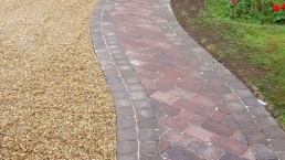 Brick pathway leading to house