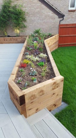 Decking & wooden flower bed