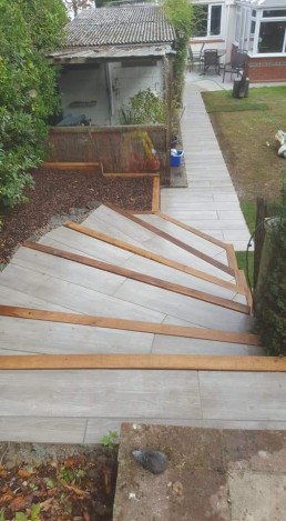 Garden steps in progress