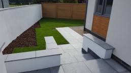 Garden with patio, grass & flowerbed