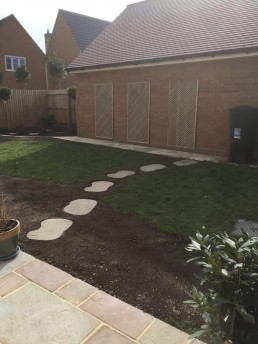 Garden with stepping stones