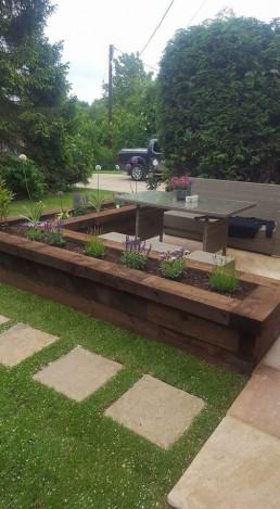 Garden wooden flowerbed