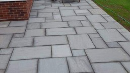 Grey slab patio area