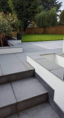 Grey slabs leading to garden