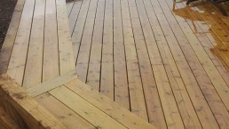 Light wooden decking