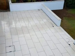 White patio tiles